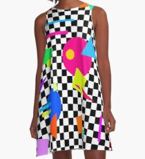 Retro Shapes On Black & White Check - 80s 80's 1980s 1980's 1980 Classic Throw Back - Retro Shapes #1 A-Line Dress