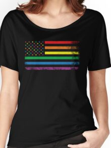 Rainbow American Flag Women's Relaxed Fit T-Shirt