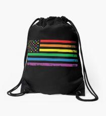 Rainbow American Flag Drawstring Bag