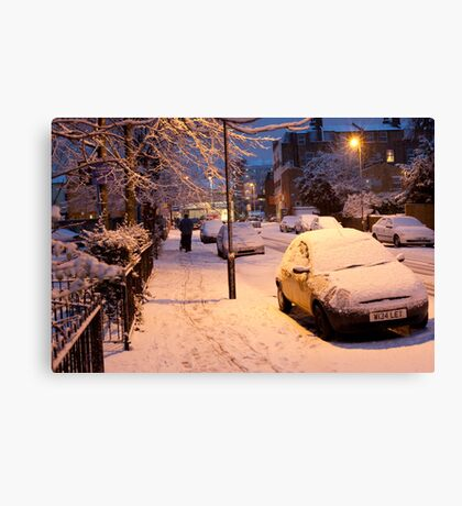 My Snowy Street: Chatsworth Way, West Norwood, London. UK Canvas Print