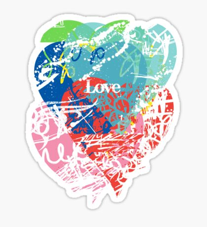 Love hearts  dark Sticker