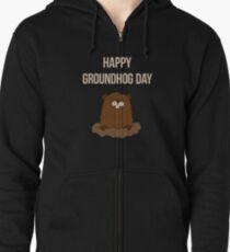 Happy Groundhog Day 2019 Zipped Hoodie