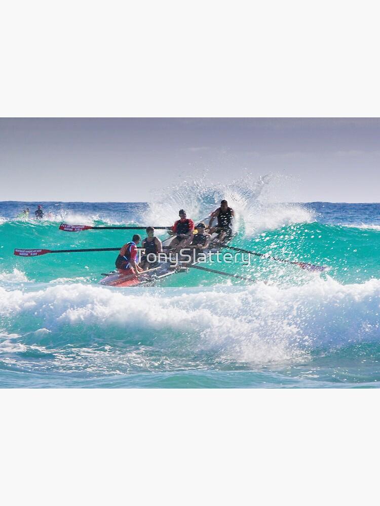 Surfboat at Narooma Beach by TonySlattery