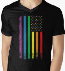 Regenbogen amerikanische Flagge T-Shirt mit V-Ausschnitt für Männer