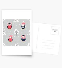 Pattern with cute cartoon penguins pine tree and snow Postcards