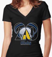 Slinky 20th Annual Black Background Items Tailliertes T-Shirt mit V-Ausschnitt