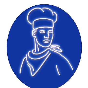 Chef Looking to Side Glowing Neon Sign by patrimonio