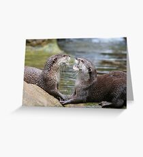 hungry otters Greeting Card