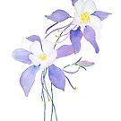 purple wild flower columbine flower watercolor by ColorandColor