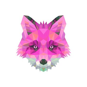 Pink Geometric Fox and Sacred Geometry by 25vintageplace