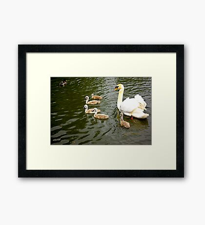 Mum with Babies Framed Print