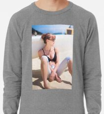 Woman Relaxing On Beach Lightweight Sweatshirt