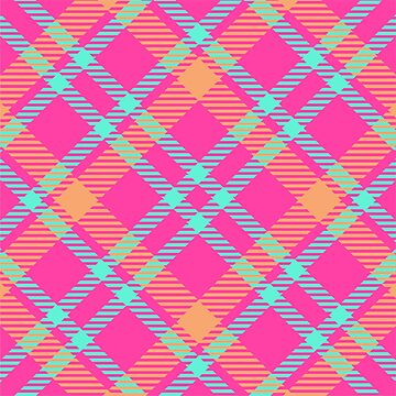 neon pink kawaii tartan design by Yanwun