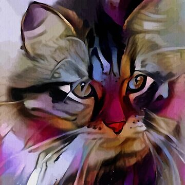 Jena, cat - Lea Roche paintings, cat, gato, cat by LEAROCHE