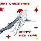 «Feliz Navidad y feliz año nuevo. Saludos de temporada. Diseño de ballena jorobada.» de Chloé Yzoard