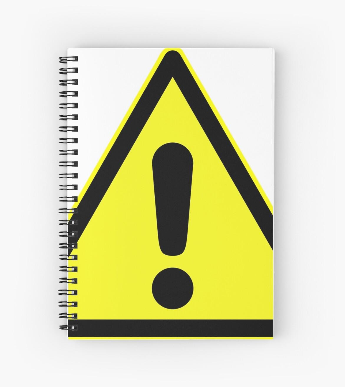 panneau d 39 avertissement point d 39 exclamation en triangle jaune cahiers spirale par. Black Bedroom Furniture Sets. Home Design Ideas