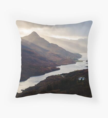 Moody Light on Loch Leven Throw Pillow