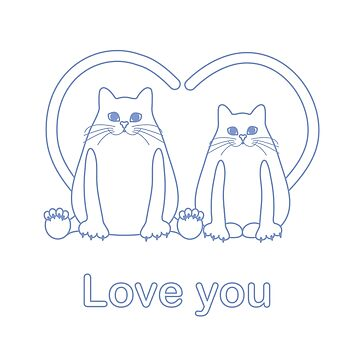 Greeting card of two cats with heart shaped tails by aquamarine-p