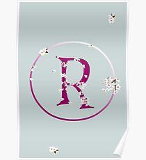 Monogram fairy flowers, letter R Poster