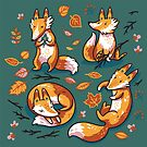 Cute foxes in autumn leaves by PenguinHouse
