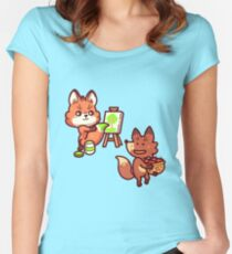 Bad fox stealing from the artist fox Fitted Scoop T-Shirt