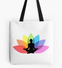 Yoga lotus flower black Tote Bag