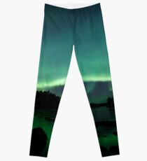 Beautiful northern lights over lake Leggings