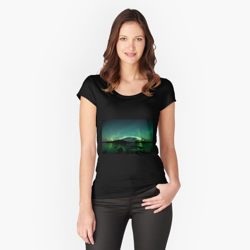 Beautiful northern lights over lake Fitted Scoop T-Shirt