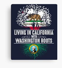 California Home Washington Roots State Tree Flag Art Gift Canvas Print