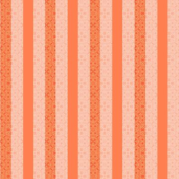 Living Coral Color Doodle Stripes by Gravityx9