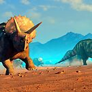 Herd of Triceratops Dinosaurs by Mark A. Garlick