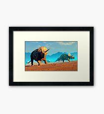 Herd of Triceratops Dinosaurs Framed Print