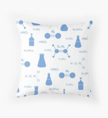 Scientific pattern. Chemistry, biology, medicine. Throw Pillow