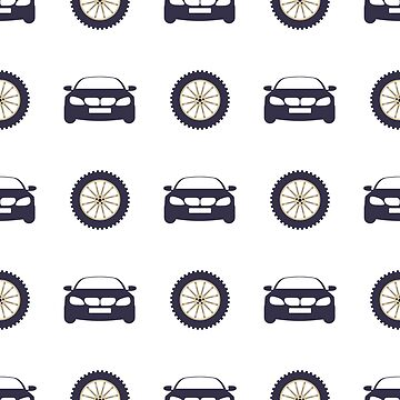 Seamless pattern with cars and wheels. by aquamarine-p