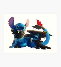 Toothless and Stitch Art Print