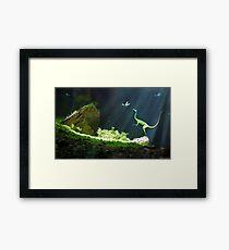Artwork of Compsognathus Dinosaur Framed Print
