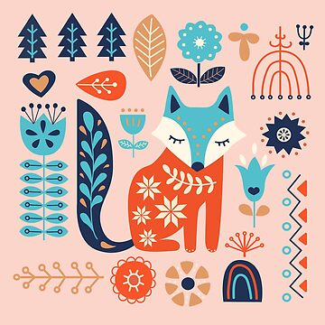 Soft And Sweet Scandinavian Fox Folk Art by BunnyThePainter
