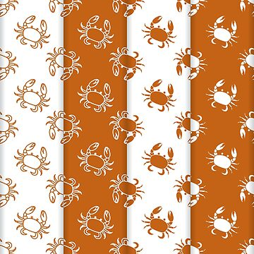Set of 4 vector seamless pattern with crabs. by aquamarine-p