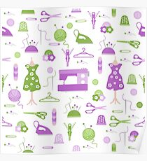 Sewing and needlework seamless pattern. Poster