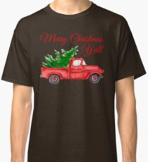 Merry Christmas Y'all - Chrismas Vintage Red Truck with a Tree Classic T-Shirt