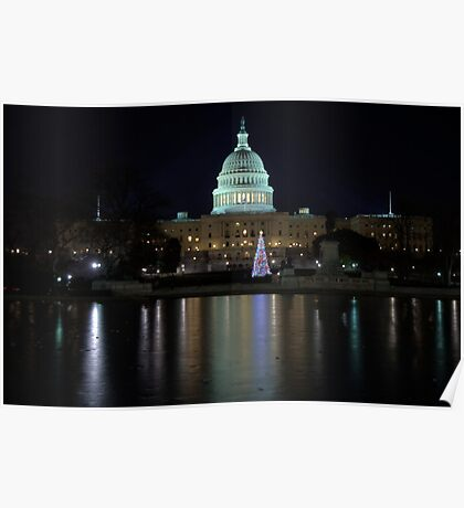 U.S. Capitol Building at Night Poster