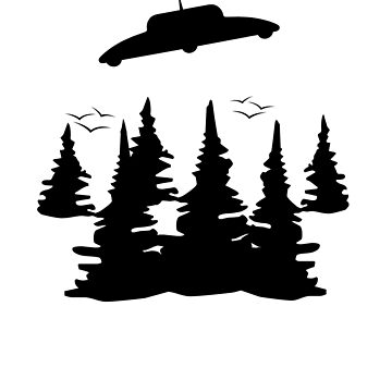 UFO silhouette and forest by goodtogotees