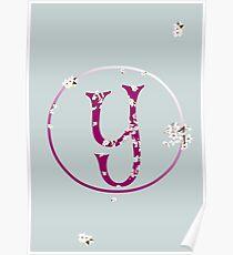 Monogram fairy flowers, letter Y Poster