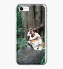 Girl crouching my pond iPhone Case/Skin