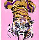 Tiger in the pink bath by emiliajesenska