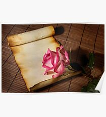 Pink rose and a parchment Poster