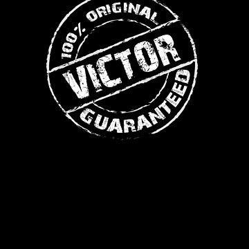 100% Original VICTOR Guaranteed T-Shirt Funny Name Tee by VKOKAY