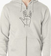 Alien Greeting Hello Spock Long Life Gift idee Science Fiction Zipped Hoodie