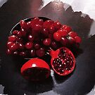 pomegranate and red grapes by Rebecca Tun