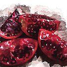 pomegranate slices by Rebecca Tun